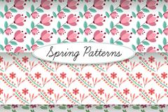 3款春季花朵无缝背景矢量素材