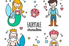 4款童话美人鱼角色和鱼类元素矢量素材