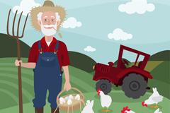 卡通白胡子农夫和鸡矢量素材
