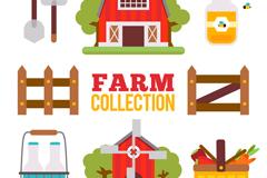 8款彩色农场元素设计矢量素材
