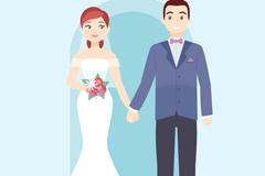 卡通牵手婚礼新人矢量素材