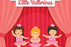 3个舞台上表演芭蕾舞的儿童矢量素材