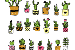 20款手绘仙人掌盆栽矢量素材