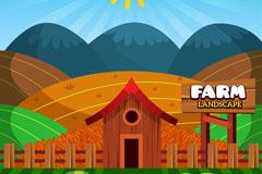 彩色农场风景矢量素材