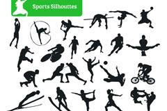 28种运动人物剪影矢量素材