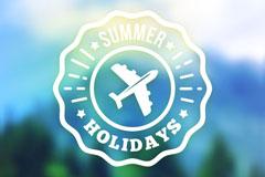 夏季旅行徽章模糊风景矢量素材