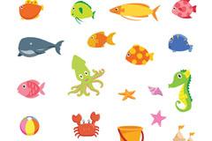 15款海洋生物和6款沙滩玩具矢量图