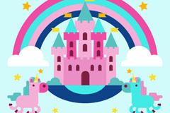 粉色童话城堡和独角兽矢量素材