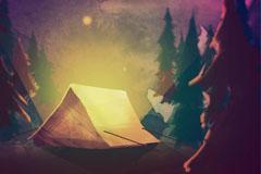 森林中的夜晚露营风景矢量素材