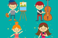 4款笑脸艺术儿童矢量素材