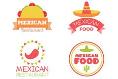 4款创意墨西哥餐馆标志矢量素材