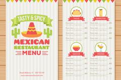 创意墨西哥餐馆菜单正反面矢量图