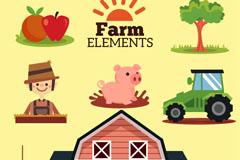 6款可爱农场元素矢量素材
