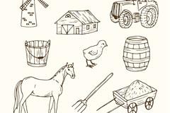 9款手绘农场元素矢量素材