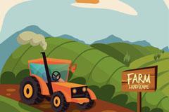 绿色农场田地风景矢量素材