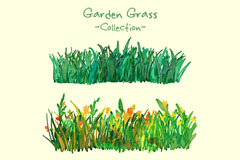 3组水彩绘花园草丛矢量素材