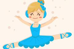 蓝裙子芭蕾舞女孩矢量素材