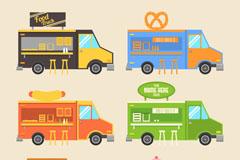 6款彩色快餐车设计矢量素材