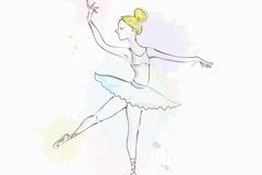 彩绘金发芭蕾舞女郎矢量素材