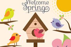 卡通春季鸟和花卉矢量素材