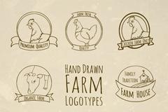 8款手绘农场标志矢量素材