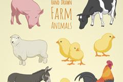 8款彩绘农场动物矢量素材