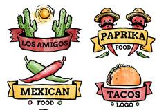 6款水彩绘墨西哥食物标签矢量素材