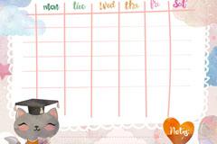 水彩绘猫咪课程表矢量素材