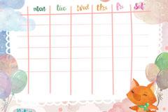 水彩绘可爱狐狸课程表矢量素材
