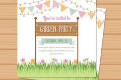 彩色花园派对邀请卡矢量素材