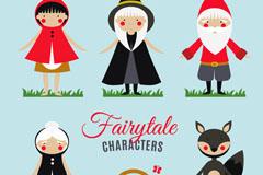 5款卡通童话小红帽角色矢量素材