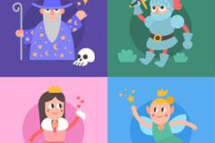 4款创意童话角色设计矢量素材