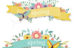 2款春季花卉蝴蝶条幅矢量素材