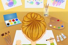 桌前绘画的男孩背影矢量素材