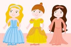 3个彩绘童话公主矢量素材