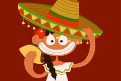卡通墨西哥女孩矢量素材