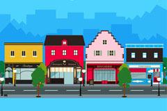 彩色道路旁的商铺街矢量素材