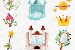 8款水彩绘童话元素矢量素材