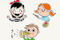 3款彩绘儿童头像矢量素材