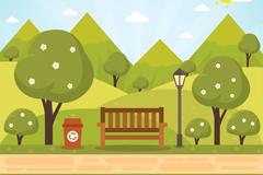 绿色公园树木和长椅风景矢量素材