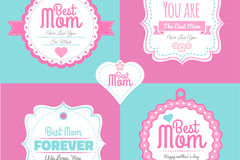 5款粉色母亲节标签矢量素材