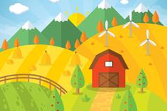 扁平化农场田地和小屋风景矢量素材
