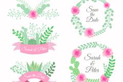 5款彩绘婚礼花环与标签矢量图