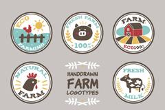 8款圆形可爱农场标志矢量素材