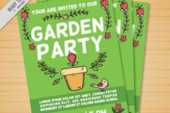 彩绘花园派对宣传单矢量素材