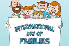 卡通国际家庭日合影贺卡矢量素材