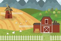 美丽农场绵羊和庄园风景矢量素材
