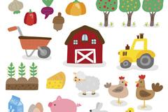 21款手绘农场元素矢量素材