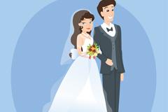 幸福的婚礼新人矢量素材