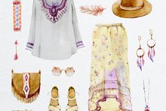11款混搭风格服装与配饰矢量图